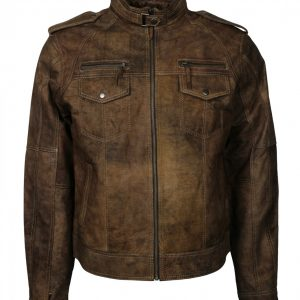 Mens Bomber Brown Distressed Leather Jacket