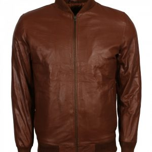 Men's Brown Fashion Ribbed Leather Jacket