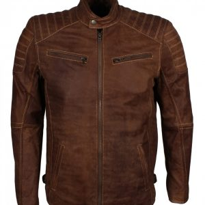Mens Brown Quilted Buffed Leather Jacket