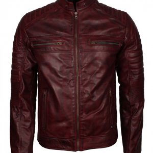 Maroon Cafe Racer Man Vintage Leather Jacket