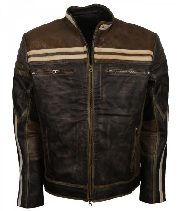 Mens Distressed Brown Vintage Biker Leather Jacket Sale Mens Fashion