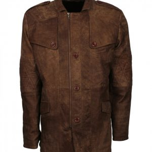 Mens Distressed Jungle Button Leather Coat
