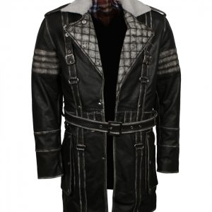 Fallout Mens Distressed Grey Leather Coat