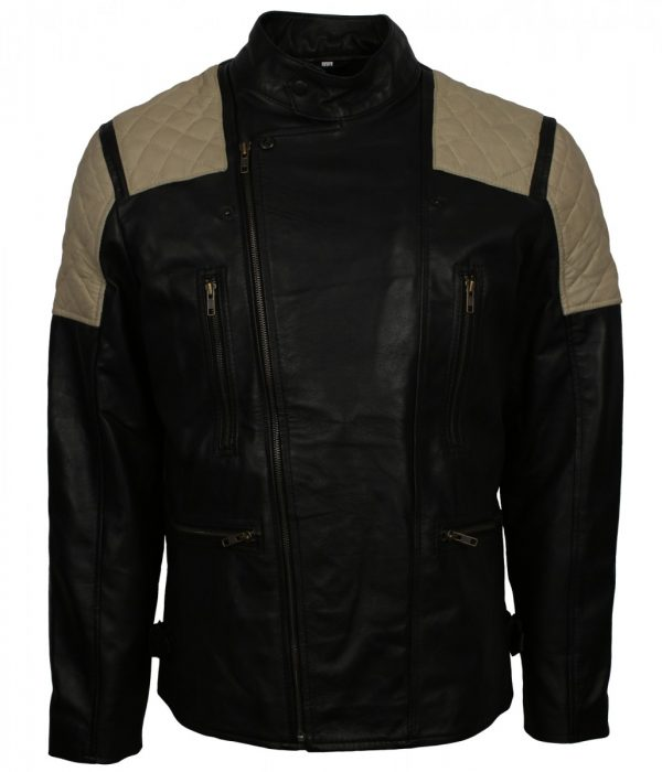 Mens Fashion Black Quilted Leather Jacket Sale US and UK