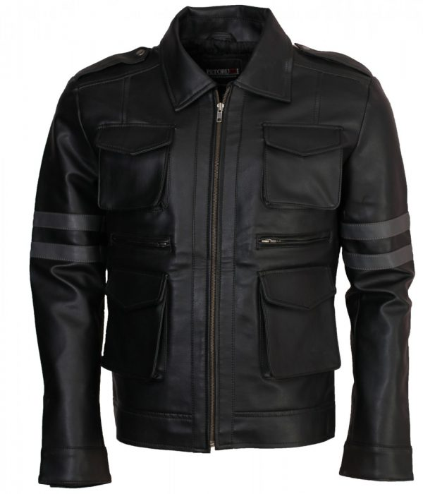 Mens Grey Striped RE Fashion Biker Leather Jacket
