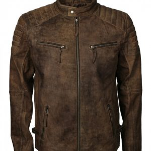 Mens Quilted Brown Distressed Leather Jacket