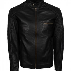Quilted Sleeves Black Leather Jacket