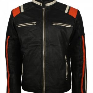 Men's Retro Red Stripe Black Leather Jacket