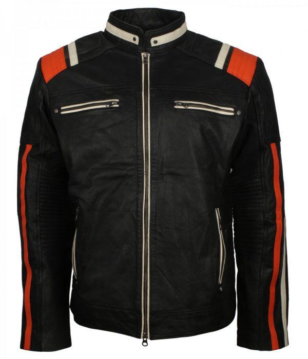 Men's Retro Red Stripe Black Leather Jacket