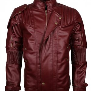 Mens Star Lord Maroon Faux Leather Jacket