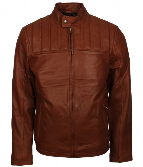 Mens Tan Leather Biker Jacket
