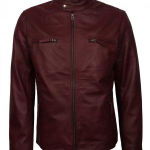 Mens Vintage Biker Maroon Leather Jacket