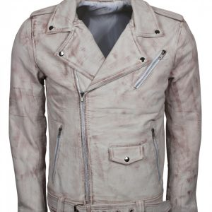 Mens Vintage Biker White Waxed Leather Jacket