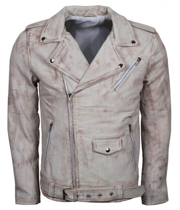 Mens Vintage Biker White Waxed Leather Jacket