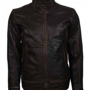 Men's Vintage Brown Distressed Leather Jacket