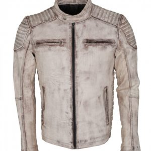Men's White Waxed Vintage Biker Leather Jacket