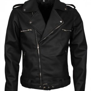 Negan Man Black Biker Leather Jacket