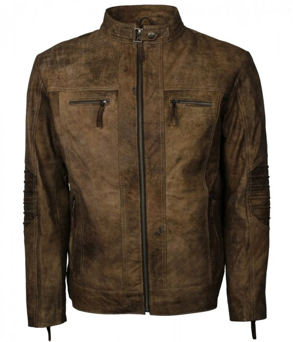 Quilted Man Brown Distressed Leather Jacket