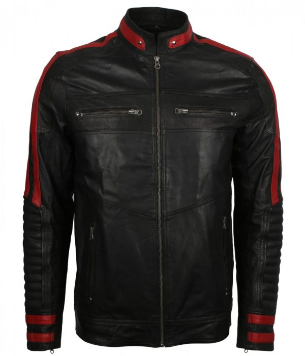 Red Stripe Black Cafe Racer Jacket