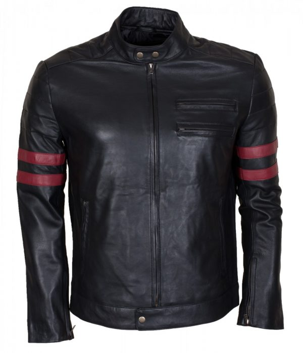 Red Stripes Men's Fashion Black Leather Jacket