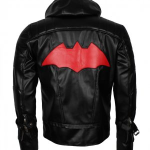 Redhood Bat Black Man Faux Leather Jacket