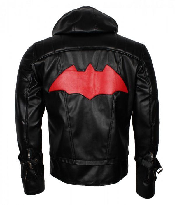 Redhood Bat Black Man Faux Leather Jacket