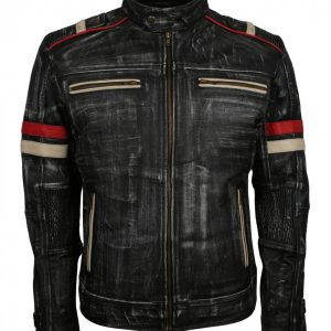 Retro Grey Distressed Leather Motorcycle Jacket