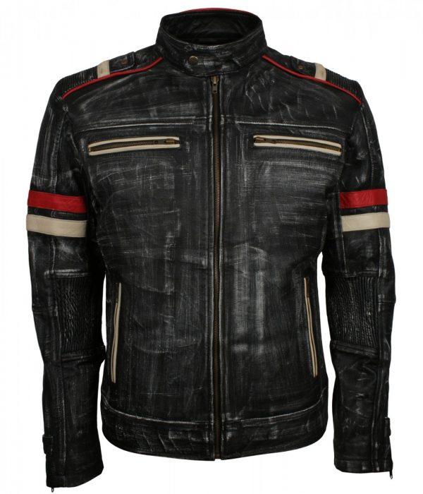 Retro Grey Distressed Leather Motorcycle Jacket