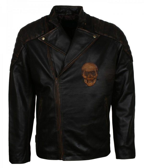 Ride Mens Black Skull Bikers Motorcycle Leather Jacket