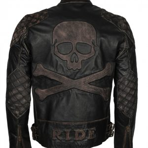 Skull Embossed Mens Motorcycle Leather Jacket