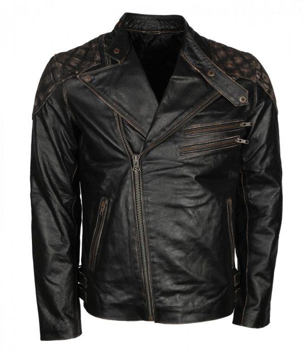 Skull Embossed Mens Motorcycle Leather Jacket
