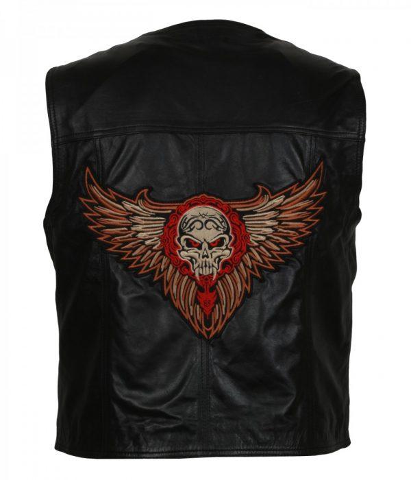 Skull Embroidered Men's Motorcycle Leather Vest Jacket