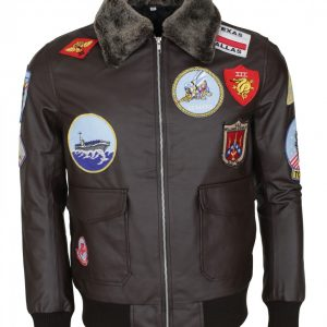 Top Gun Fur Collar Brown Leather Jacket