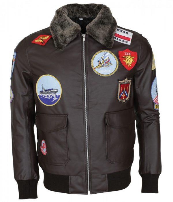 Top Gun Fur Collar Brown Leather Jacket