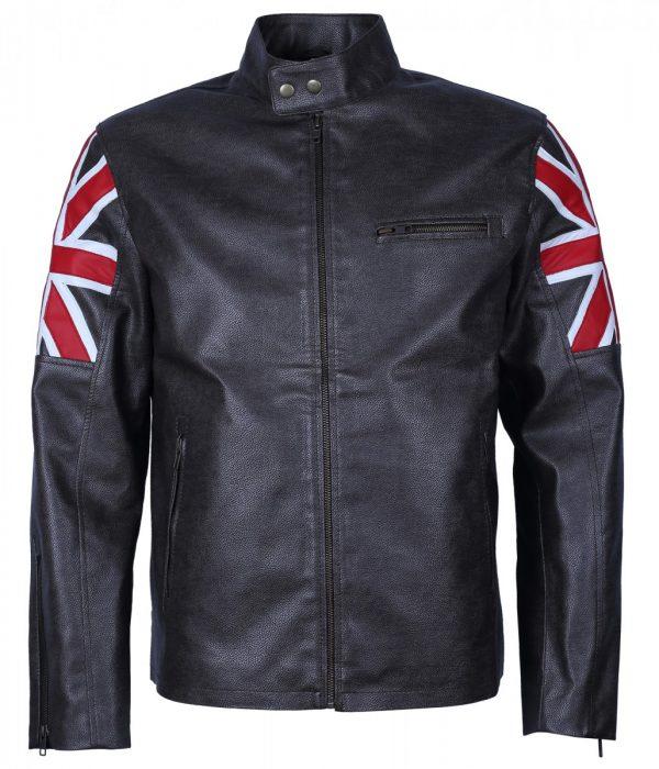 UK Flag Man's Black Faux Leather Jacket