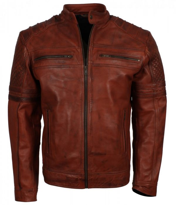 Vintage Men Brown Stripes Cafe Racer Leather Jacket Sale Mens Fashion