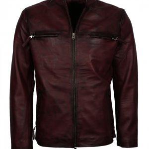 Vintage Mens Maroon Biker Leather Jacket