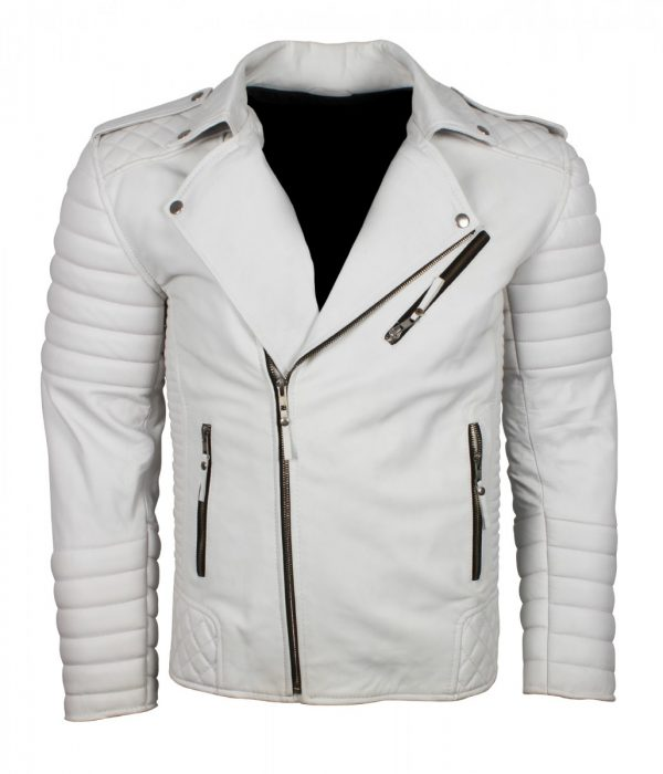 Boda White Mens Biker Leather Jacket