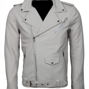 White Brando Biker Leather Jacket