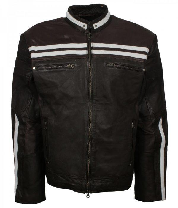 White Stripe Black Men's Leather Jacket