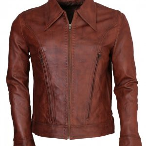 Wolverine Brown Waxed Real Leather Jacket
