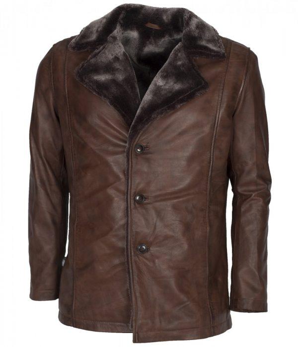 Wolverine Men's Brown Fur Leather Coat