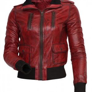 Women Fashion Red Waxed Genuine Leather Jacket