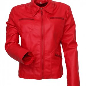 Women Red Fashion Real Leather Jacket