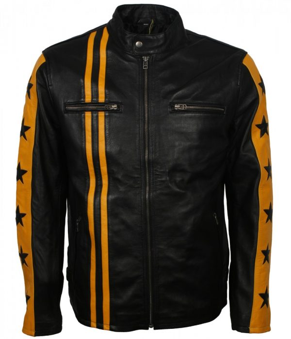 Yellow Star Stripes Mens Black Real Leather Jacket