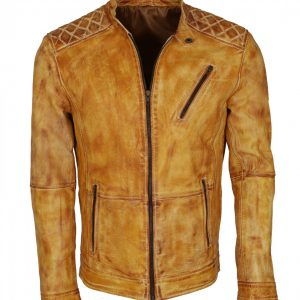 Yellow Waxed Vintage Man's Leather Jacket