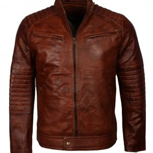 Brown Vintage Mens Leather Jacket