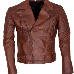 Classic Diamond Mens Brown Leather Jacket