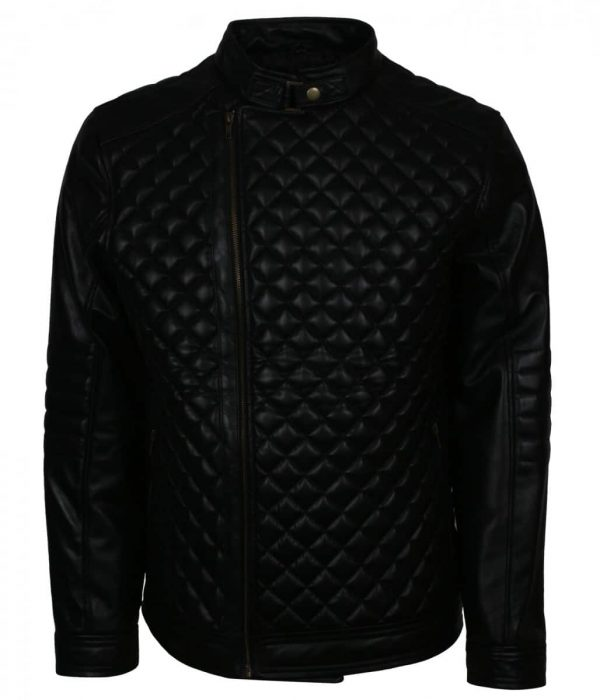 Diamond Quilted Real Leather Jacket