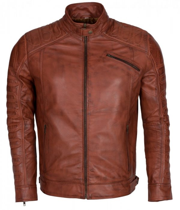 Padded Men Brown Real Leather Jacket